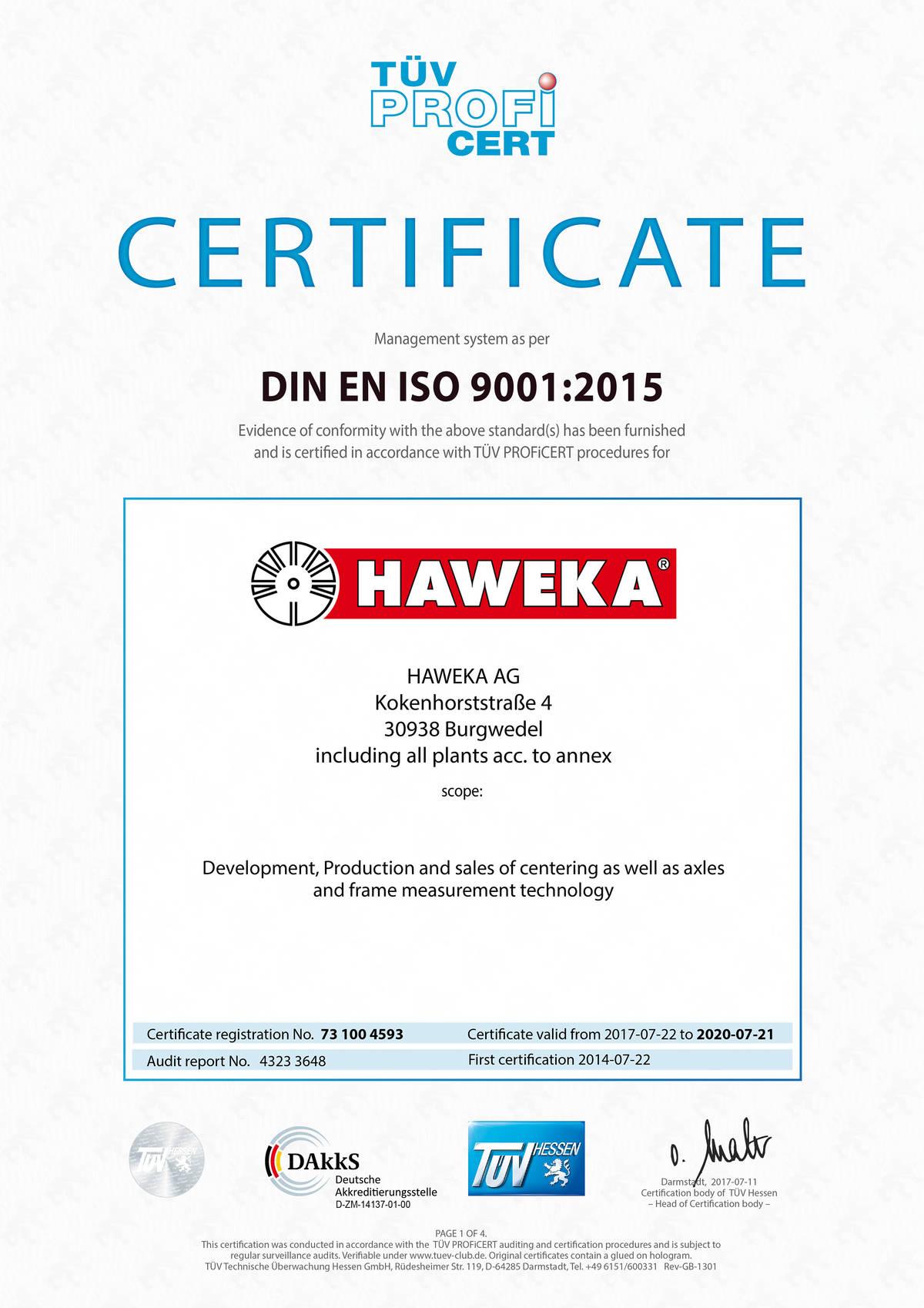 Haweka iso 9001 certification haweka din en iso 90012015 certification 1betcityfo Images